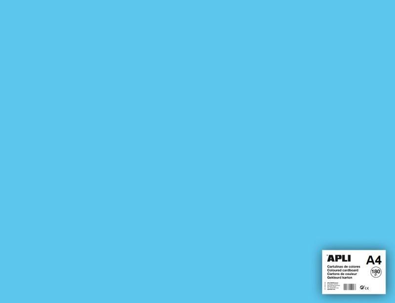 Carton couleur Bleu clair A4   APLI   5 feuilles 180 Gr   Format