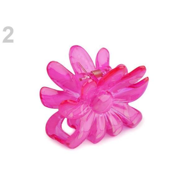 1pc 2 Flashy Rose de Fleur de Cheveux de Griffe 5x6.5 Cm, Acrylique De Griffes, Pinces Bébé, Accesso - Photo n°1