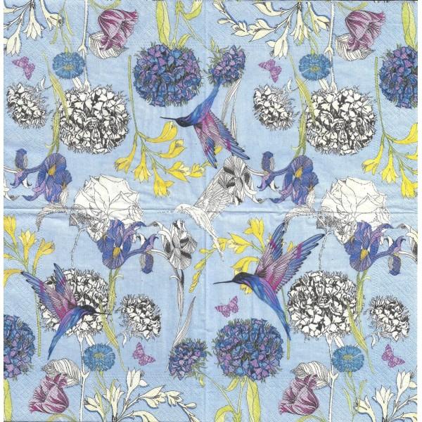 4 Serviettes en papier Fleurs Iris & Colibri Format Lunch Decoupage Decopatch 75303 Nouveau - Photo n°2
