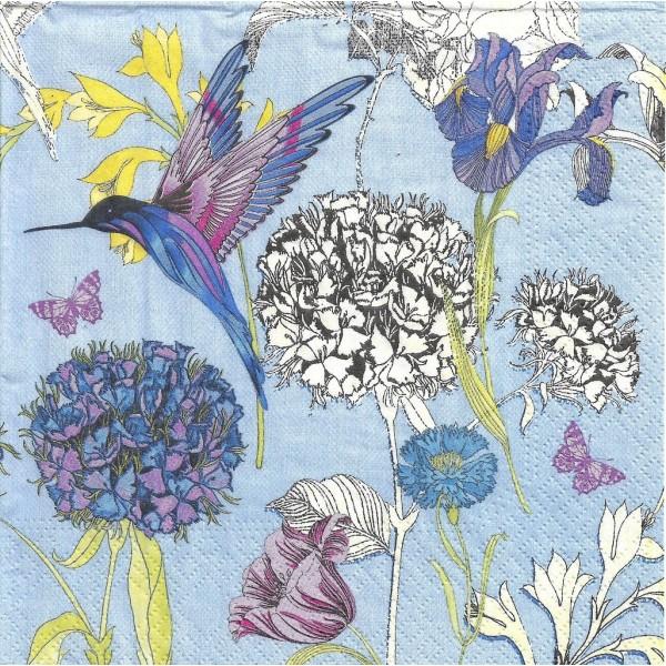 4 Serviettes en papier Fleurs Iris & Colibri Format Lunch Decoupage Decopatch 75303 Nouveau - Photo n°1