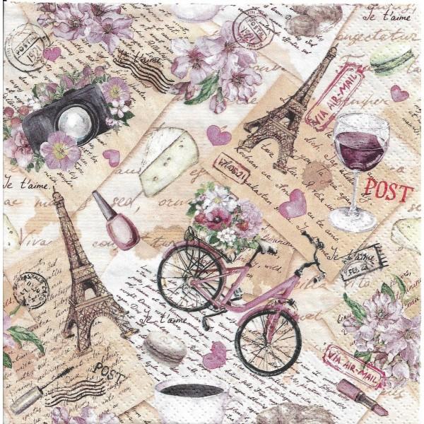 4 Serviettes en papier Voyage à Paris Format Lunch Decoupage Decopatch Ti-Flair 373435 - Photo n°1