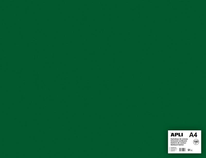 Carton couleur Vert foncé A4   APLI   5 feuilles 180 Gr   Format