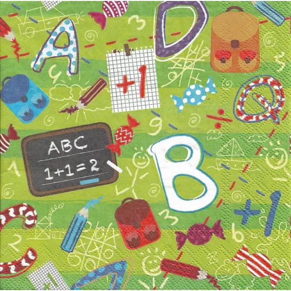 4 Serviettes en papier école ABC Format Lunch Decoupage Decopatch 13308255 Ambiente - Photo n°1
