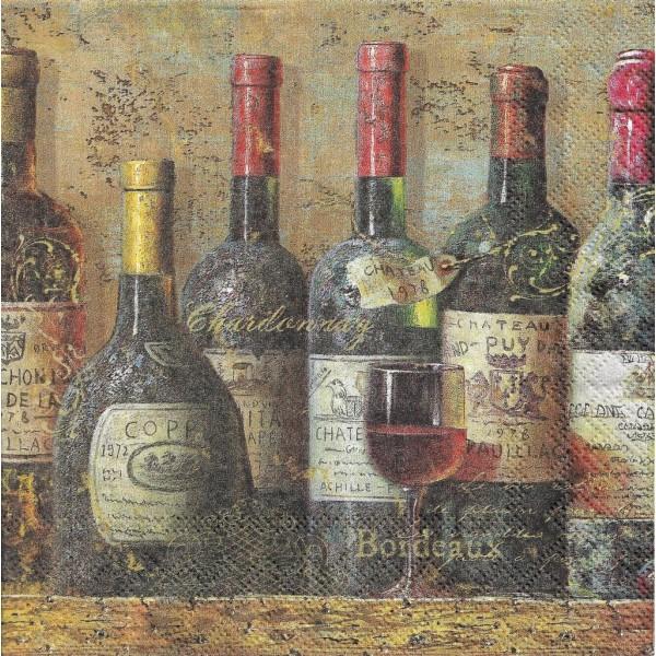 4 Serviettes en papier Vieux Vins Format Lunch Decoupage Decopatch 13312940 Ambiente - Photo n°2
