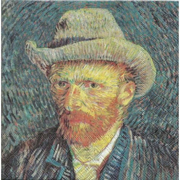 4 Serviettes en papier Van Gogh Auto-portrait Format Lunch Decoupage 13313820 Ambiente - Photo n°1