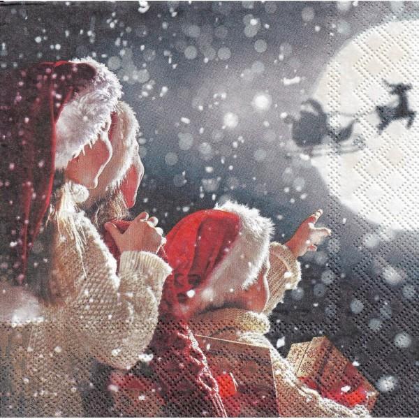 4 Serviettes en papier Père Noël dans le ciel Format Lunch Decoupage Decopatch 33313585 Ambiente - Photo n°2