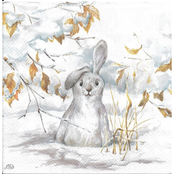 4 Serviettes en papier Peter le Lapin Blanc Hiver Format Lunch Decoupage Decopatch L-825800 IHR - Photo n°1
