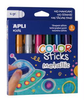 Gouache solide en stick Metallic - APLI Kids - 6 x 6 g