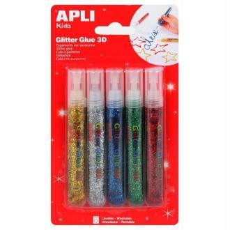 Colle pailletée métallisée APLI Kids - 5 x 13 ml