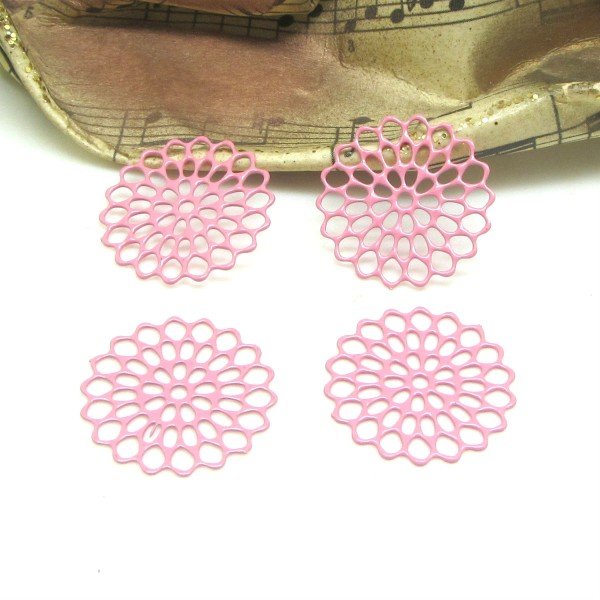 4 Connecteurs Estampes Petites Rosaces Filigranées Rose - 16 mm - Photo n°1