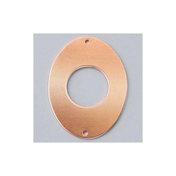 Lot de 10 Pendentifs en cuivre Forme Ovale creux 2 trous, 41 x 31 mm, pour émaillage à froid - Photo n°1