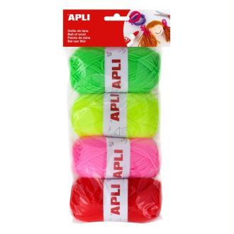 Kit pelote de laine N° 4 fluo - APLI - 4 x 50g