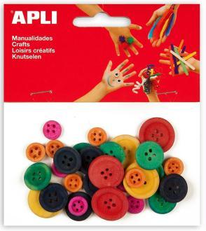 Boutons en bois multicolore - APLI - 30 pcs