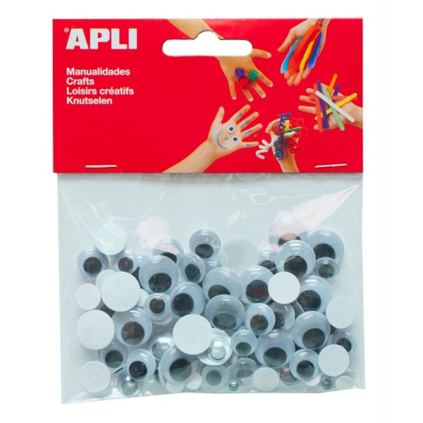 Yeux mobiles adhésifs ronds - Tailles assorties - APLI x 100 - Photo n°1