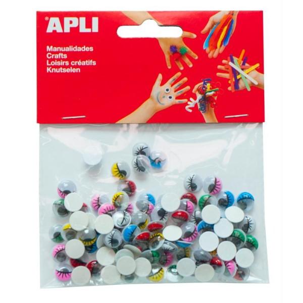 Yeux mobiles adhésifs ronds 10 mm - Paupière colorée et cils - APLI x 100 - Photo n°1