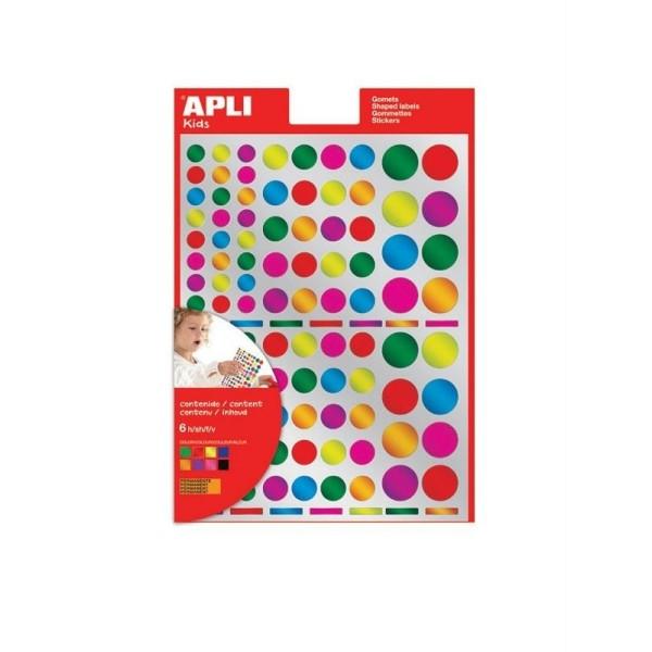 Gommettes rondes multicolores métallisées - APLI Kids - 624 pcs - Photo n°1