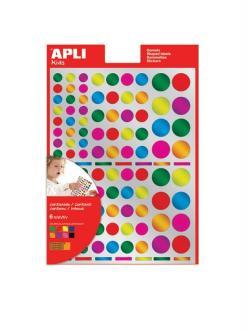 Gommettes rondes multicolores métallisées - APLI Kids - 624 pcs