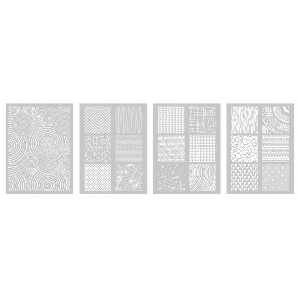 4 Pochoirs Géométrique dont 1 Offert pour Fimo, Cernit 114x153mm - Photo n°2