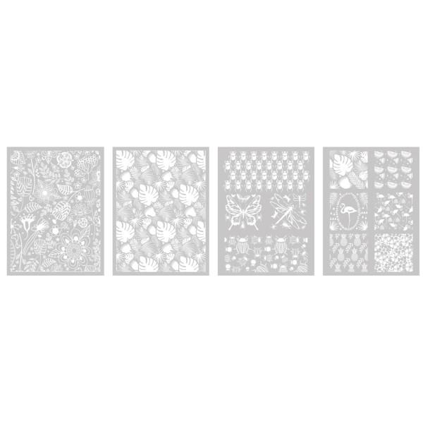 4 Pochoirs Végétal pour Fimo, Cernit 114x153mm dont 1 Offert - Photo n°2