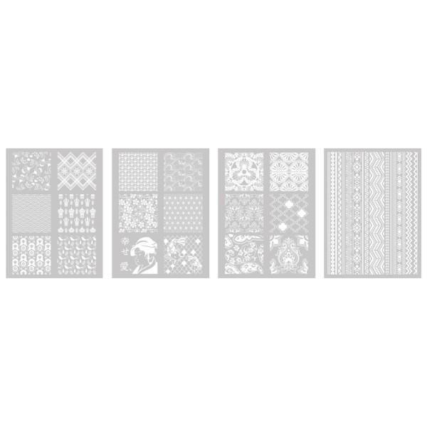 4 Pochoirs Monde dont 1 Offert  pour Fimo, Cernit 114x153mm - Photo n°2