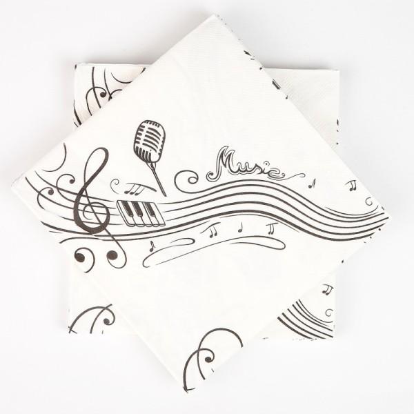 Serviettes notes de musique (x20) blanc / noir - Photo n°1