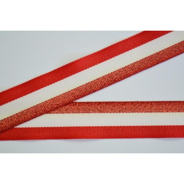 Galon rayure rouge, écru et rouge pailleté 25mm - Photo n°1