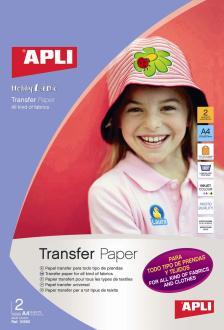 Papier transfert tous textiles - APLI - A4 x 2 feuillles