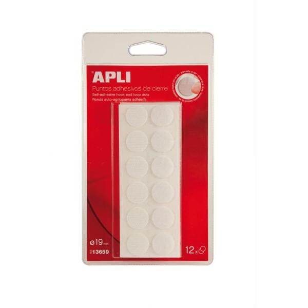 Pastilles adhésives auto-agrippantes Blanc - APLI - 19 mm x 12 - Photo n°1
