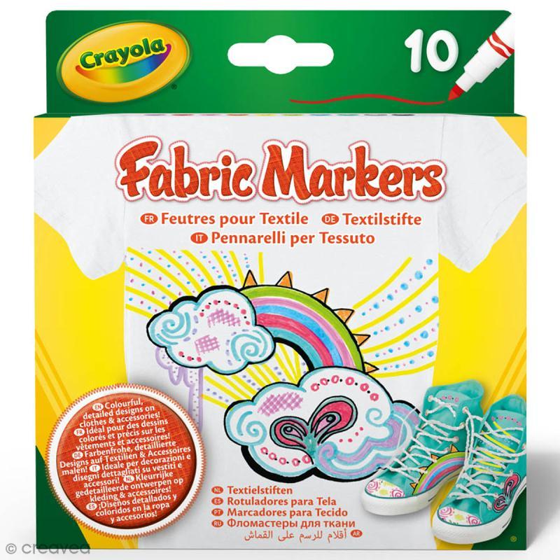 Feutres fins pour textile crayola 10 feutres feutre textile creavea - Enlever feutre sur tissu ...