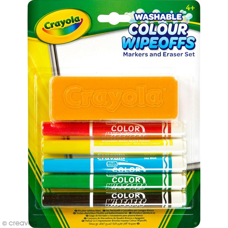 kit pour tableau blanc crayola 5 marqueurs marqueur tableau blanc creavea. Black Bedroom Furniture Sets. Home Design Ideas