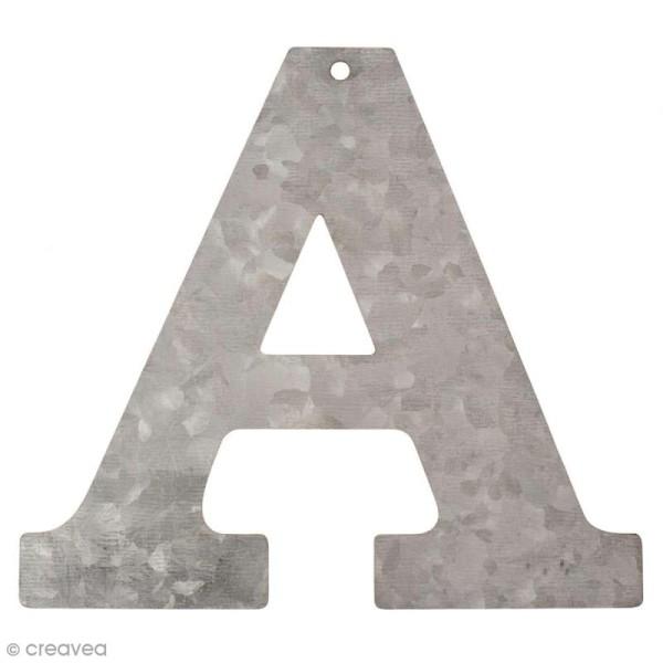 Lettre en métal galvanisé 12 cm - A - Photo n°1