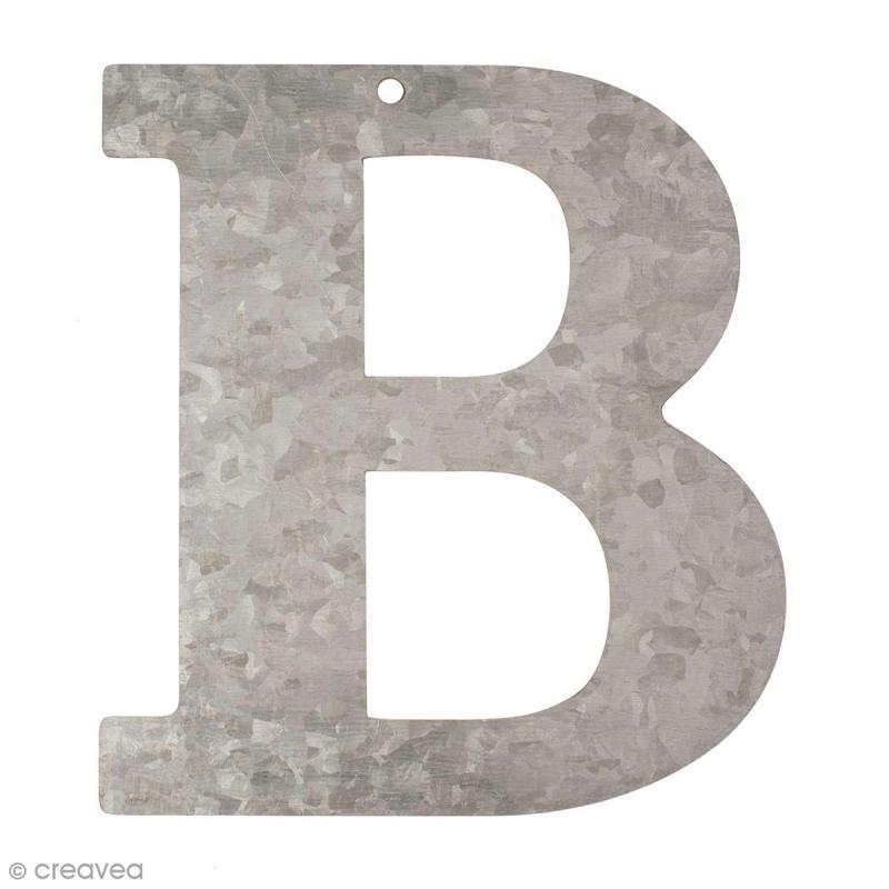 lettre en m tal galvanis 12 cm b lettre en m tal 12 cm creavea. Black Bedroom Furniture Sets. Home Design Ideas