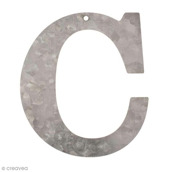 Lettre en métal galvanisé 12 cm - C - Photo n°1