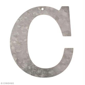 Lettre en métal galvanisé 12 cm - C