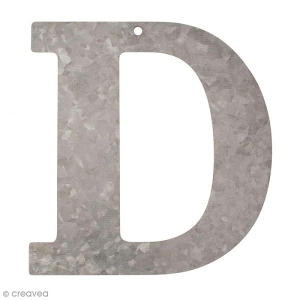 Lettre en métal galvanisé 12 cm - D - Photo n°1