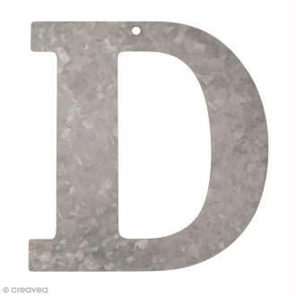 Lettre en métal galvanisé 12 cm - D