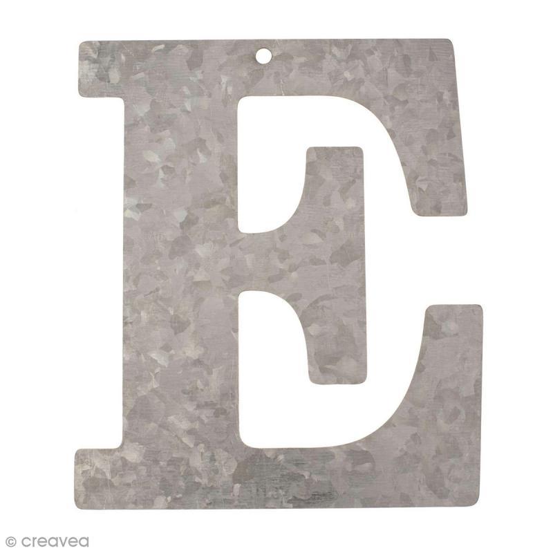 lettre en m tal galvanis 12 cm e lettre en m tal 12 cm creavea. Black Bedroom Furniture Sets. Home Design Ideas