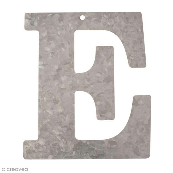 Lettre en métal galvanisé 12 cm - E - Photo n°1