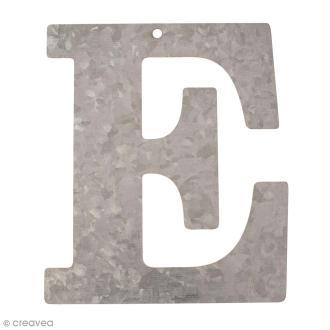 Lettre en métal galvanisé 12 cm - E