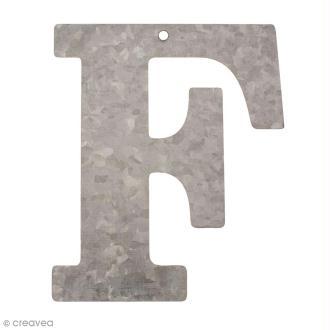 Lettre en métal galvanisé 12 cm - F