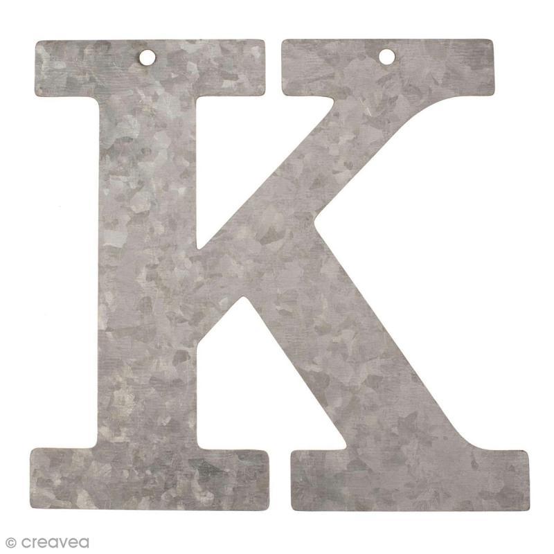 lettre en m tal galvanis 12 cm k lettre en m tal 12 cm creavea. Black Bedroom Furniture Sets. Home Design Ideas