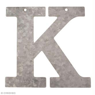 Lettre en métal galvanisé 12 cm - K