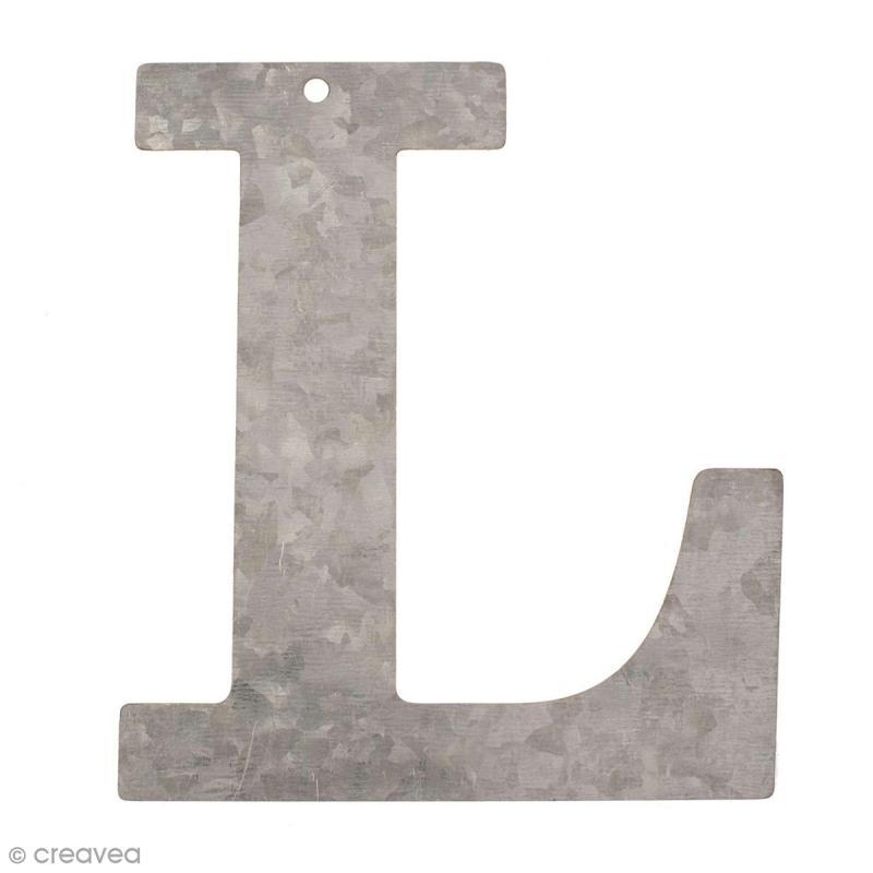lettre en m tal galvanis 12 cm l lettre en m tal 12 cm creavea. Black Bedroom Furniture Sets. Home Design Ideas