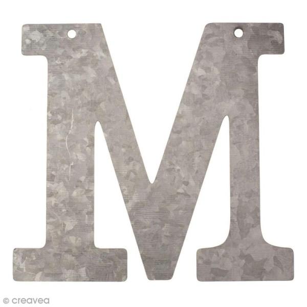 Lettre en métal galvanisé 12 cm - M - Photo n°1