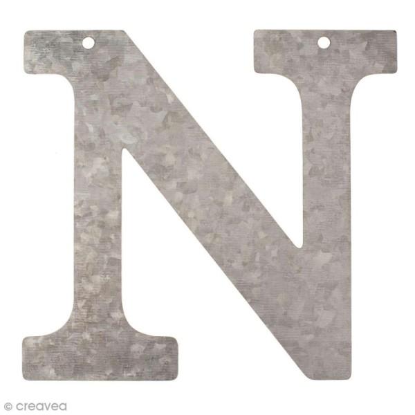 Lettre en métal galvanisé 12 cm - N - Photo n°1