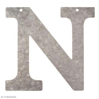Lettre en métal galvanisé 12 cm - N