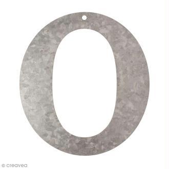 Lettre en métal galvanisé 12 cm - O