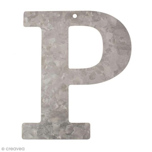 Lettre en métal galvanisé 12 cm - P - Photo n°1