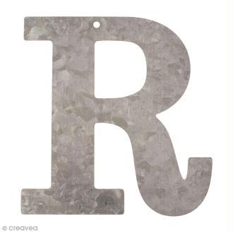 Lettre en métal galvanisé 12 cm - R