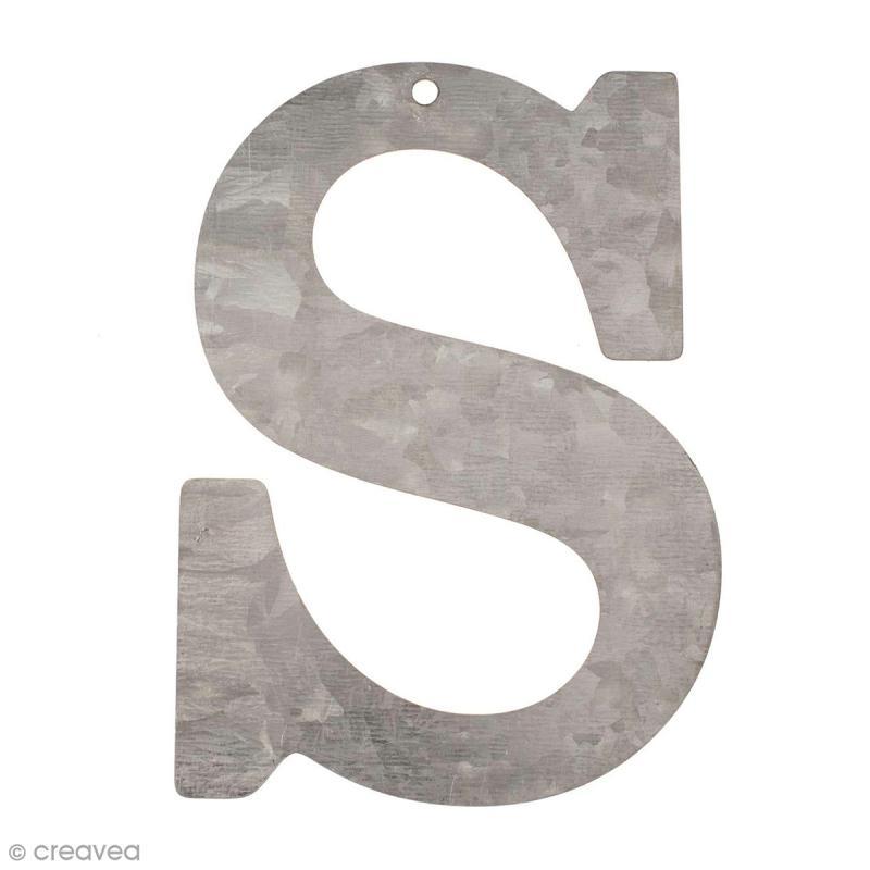 lettre en m tal galvanis 12 cm s lettre en m tal 12 cm creavea. Black Bedroom Furniture Sets. Home Design Ideas